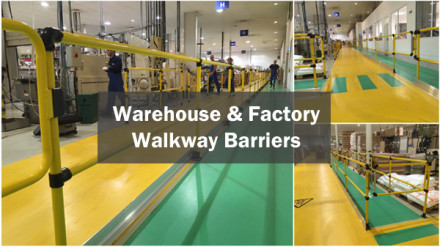 Warehouse and factory walkway barriers