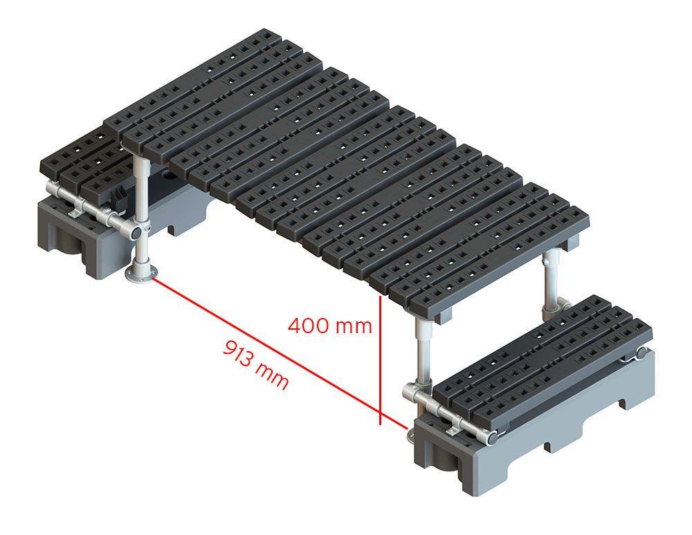 freestanding step over platform render measurements
