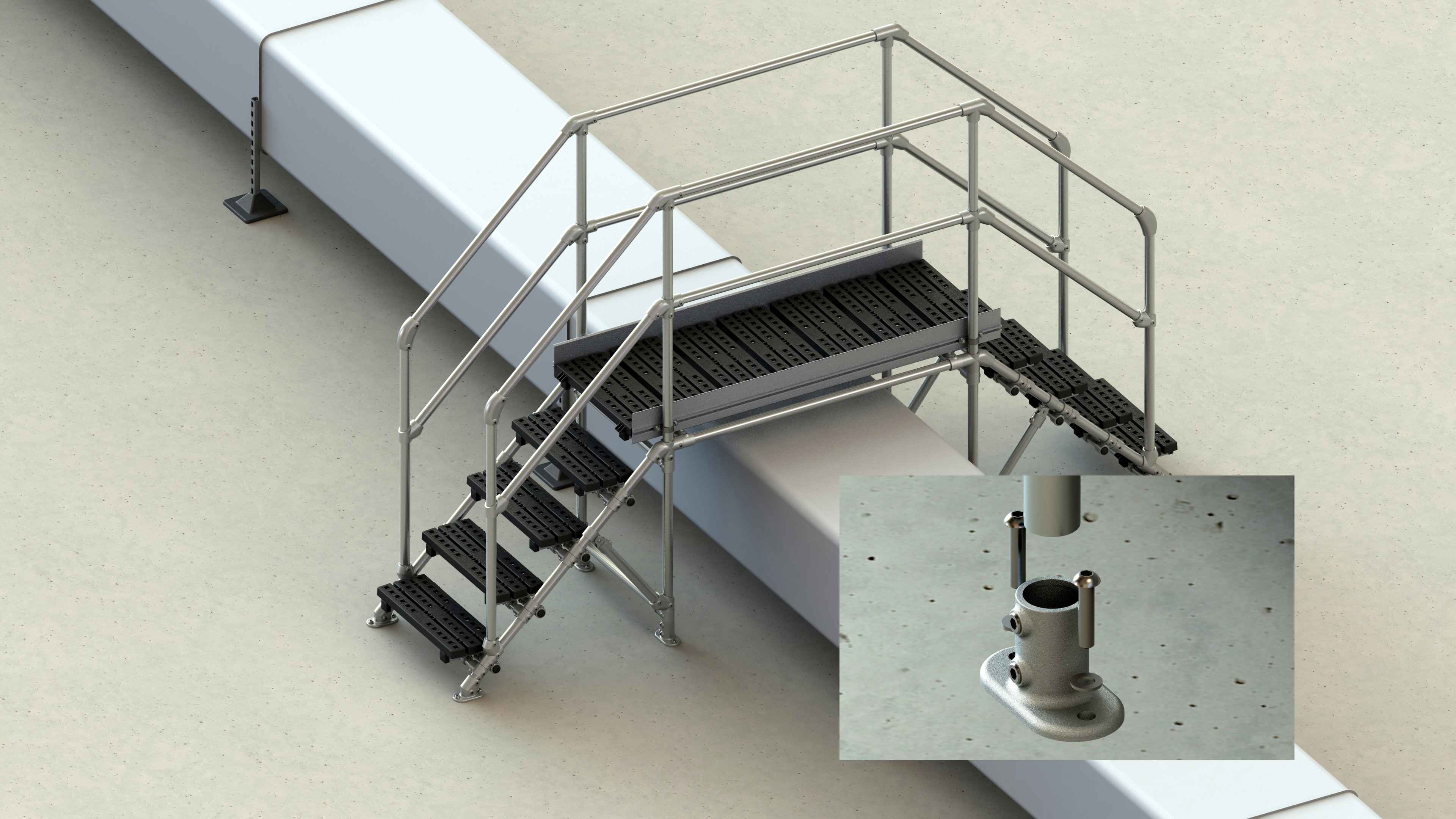 step over system for a concrete roof