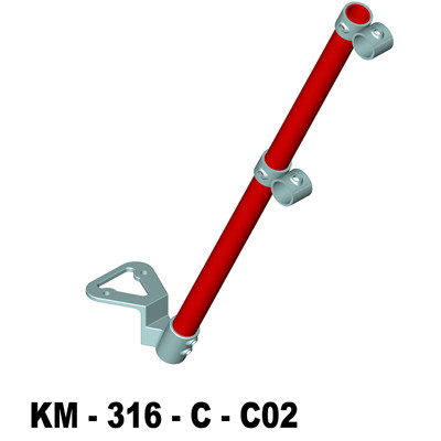 Inline single rail parapet handrail upright
