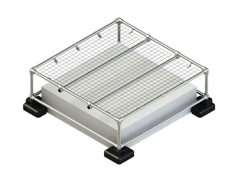 mini skylight guardrail system with mesh