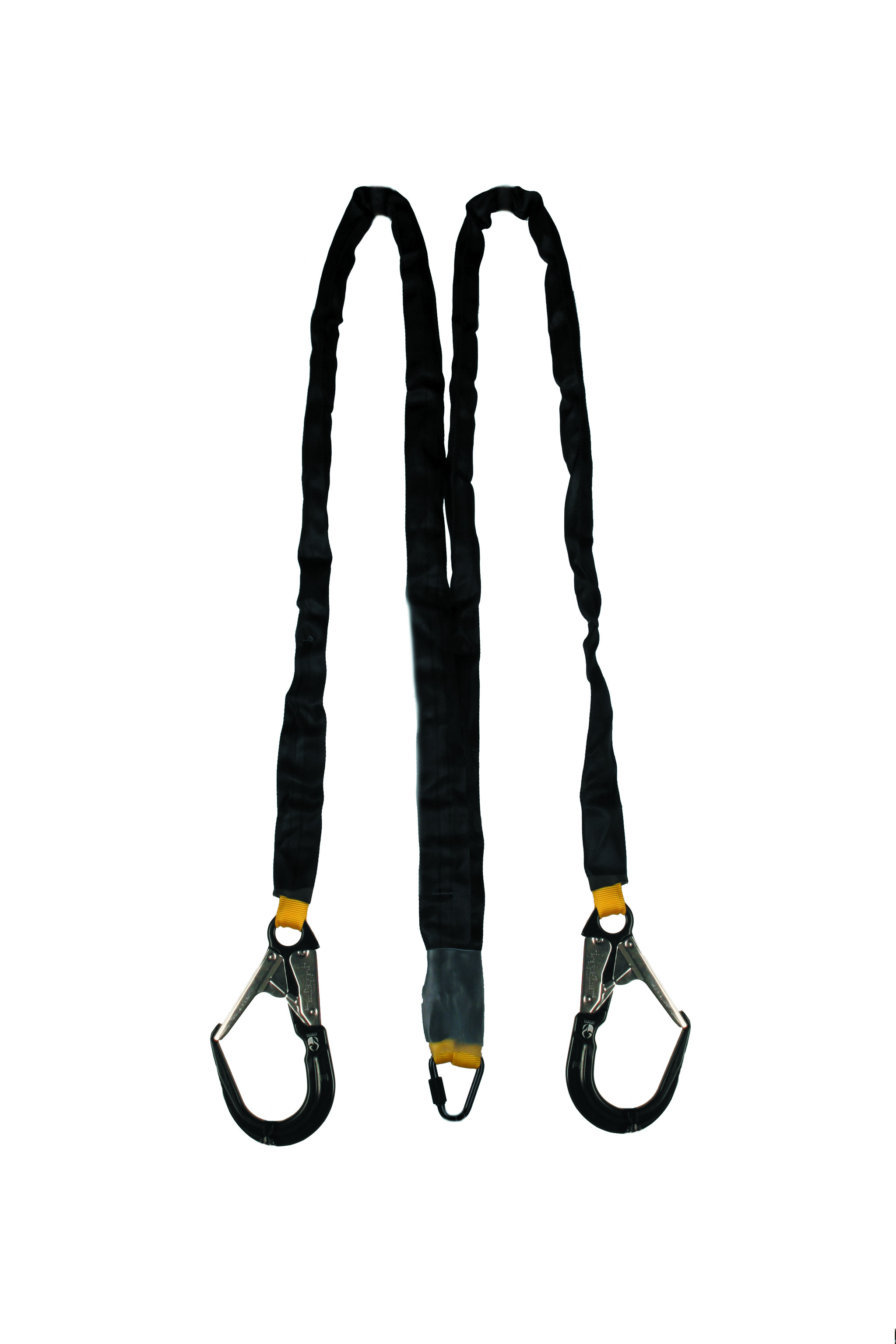 energy absorbing twin lanyard with scaffold hook
