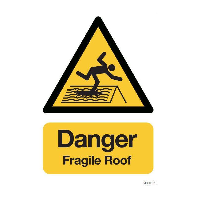 Safety sign: Danger - Fragile roof (Aluminium)