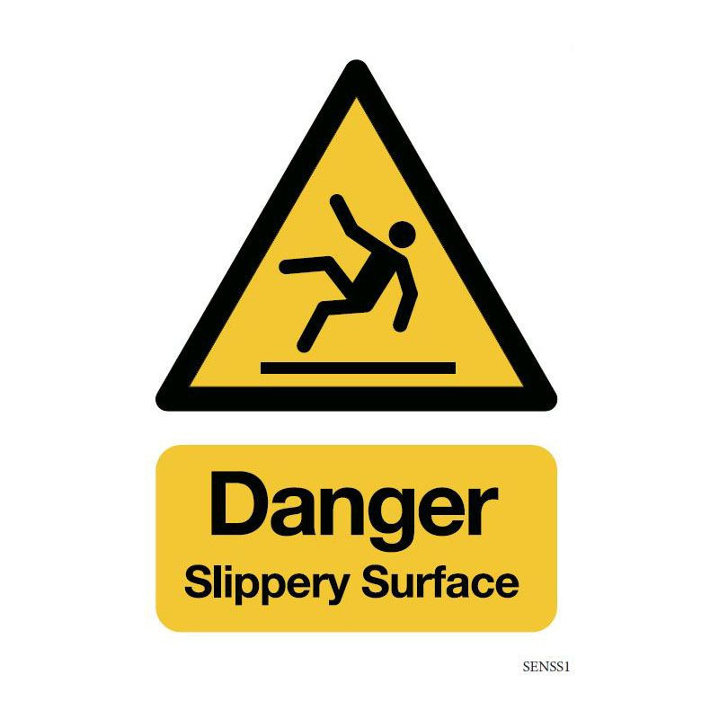 Safety sign: Danger - Slippery surface (Aluminium)