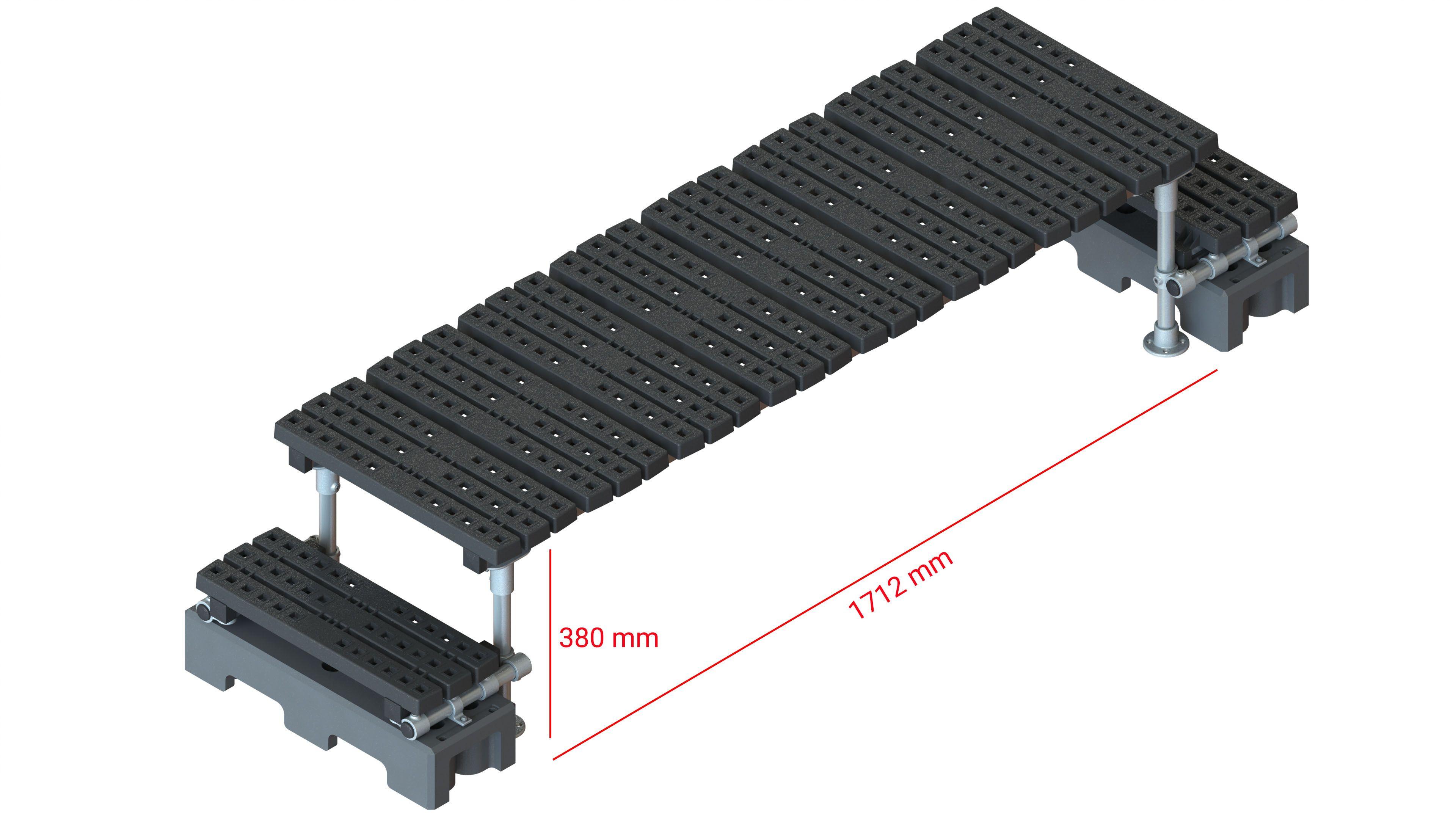 Mini step-over platform - Freestanding, 380x1712mm clearance