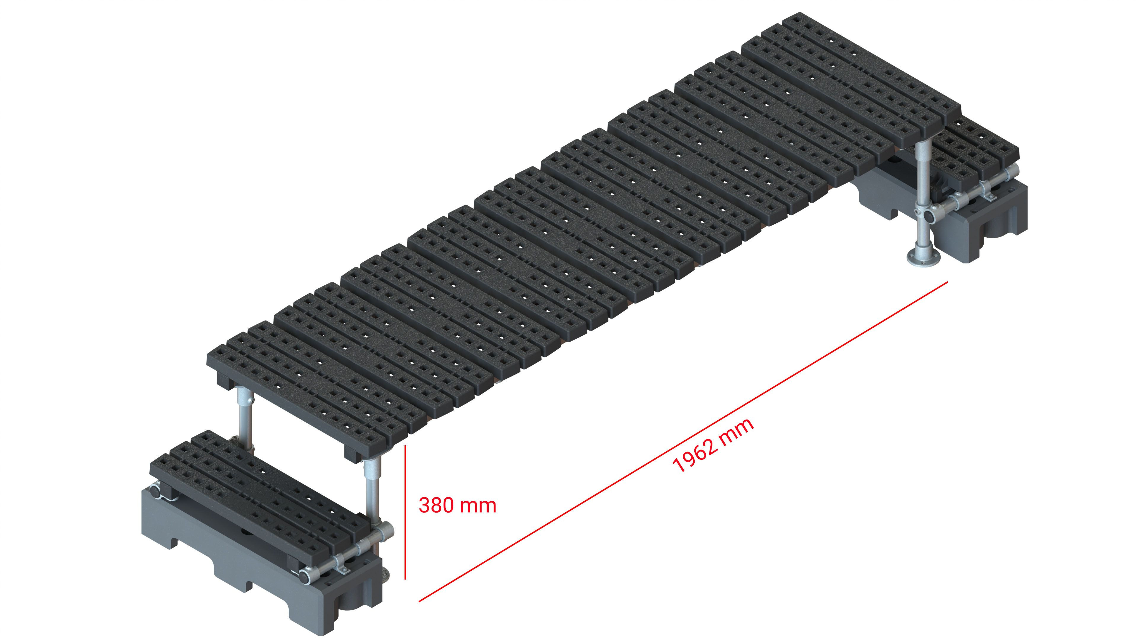 Mini step-over platform - Freestanding, 380x1962mm clearance