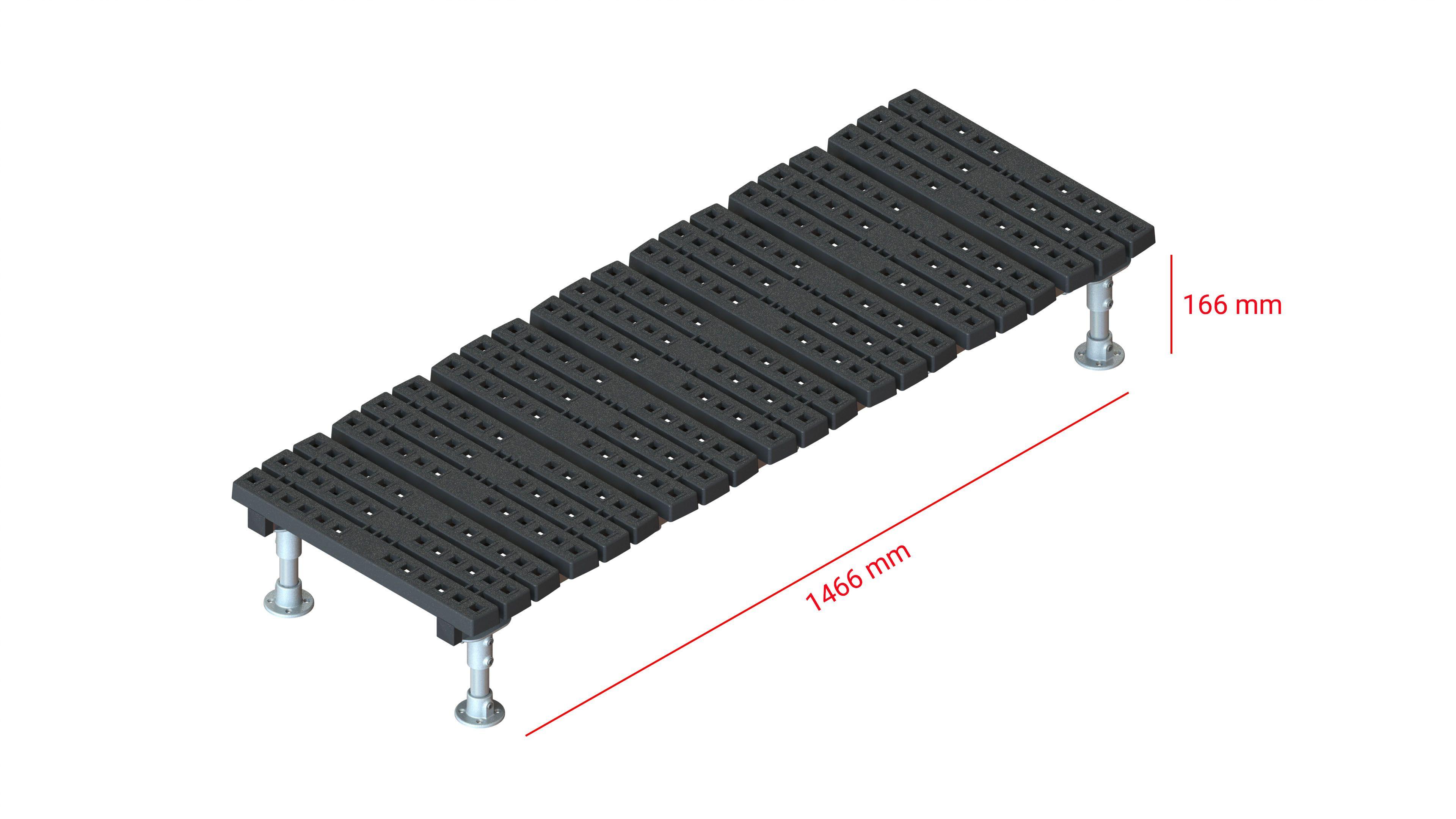Mini step-over platform - Fixed, 166x1466mm clearance