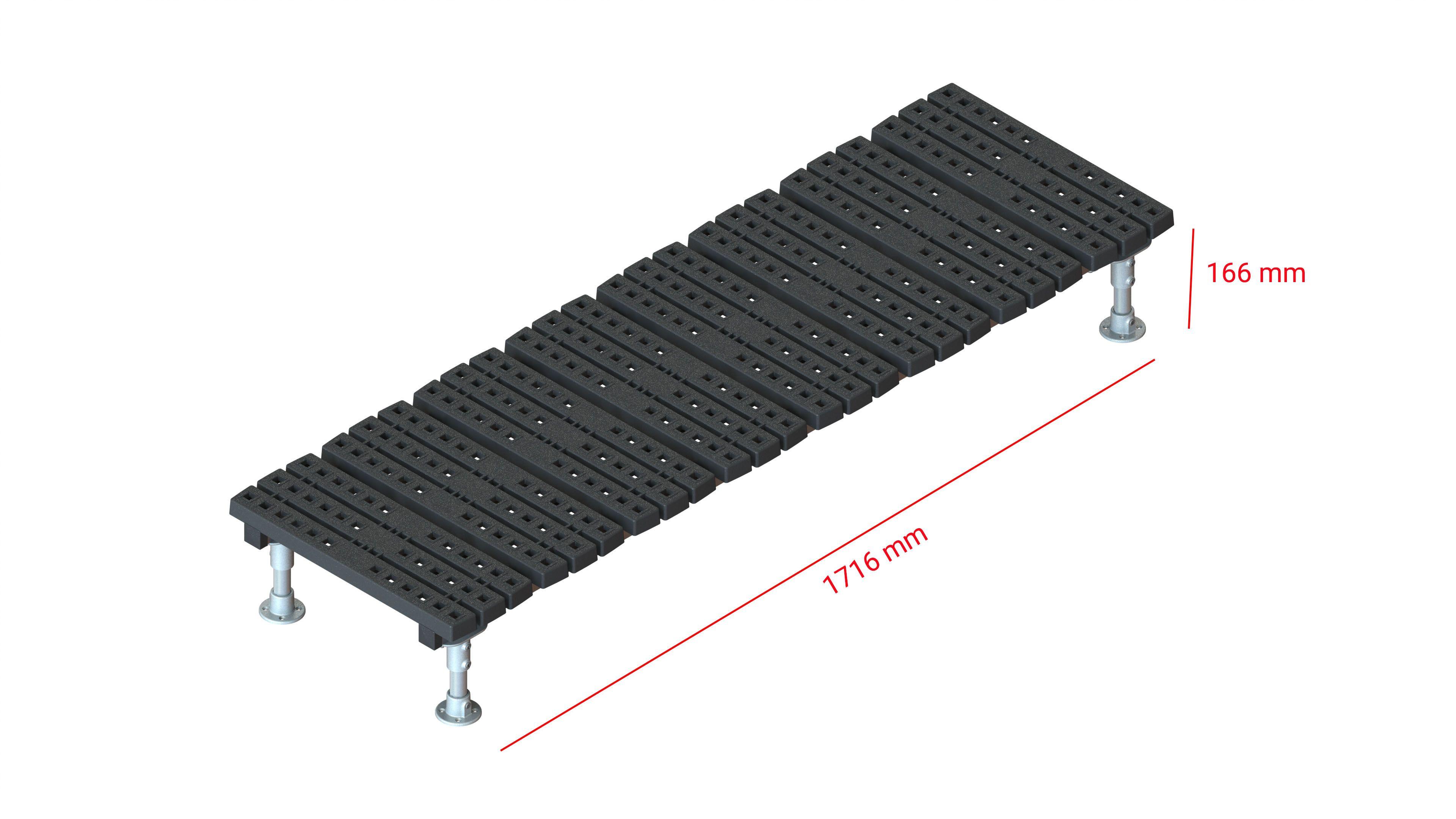 Mini step-over platform - Fixed, 166x1716mm clearance