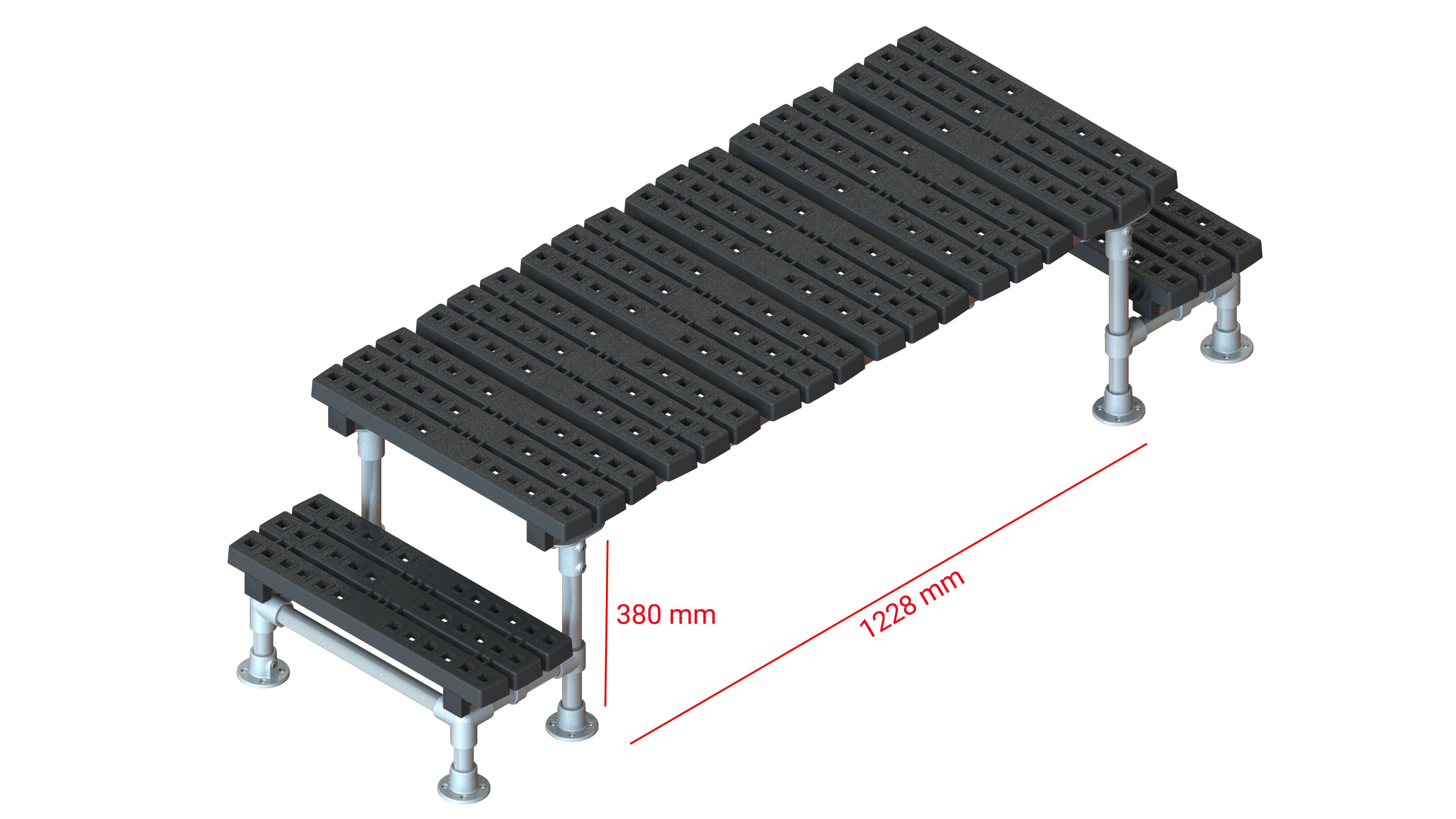 Mini step-over platform - Fixed, 380x1228mm clearance