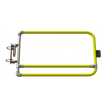 Self closing yellow industrial safety gate