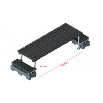 Mini step-over platform - Freestanding, 380x1462mm clearance