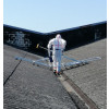Valley gutter cleaning on asbestos roof