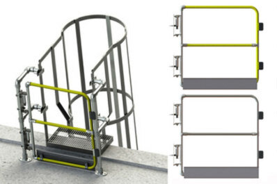 Tall gates for fixed ladder access