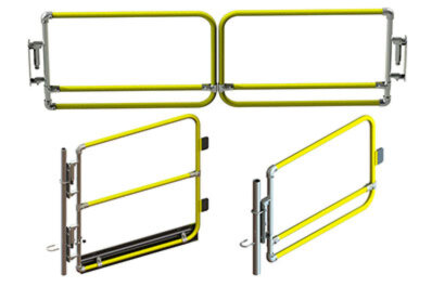 Yellow powder-coated gates