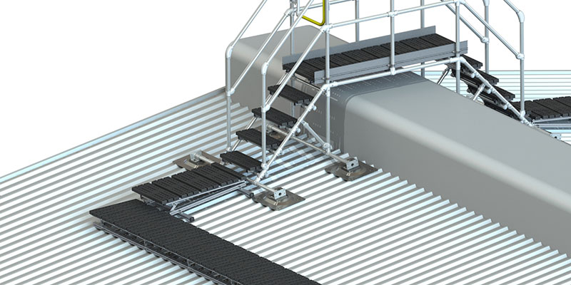 Custom step-over platforms for roofs
