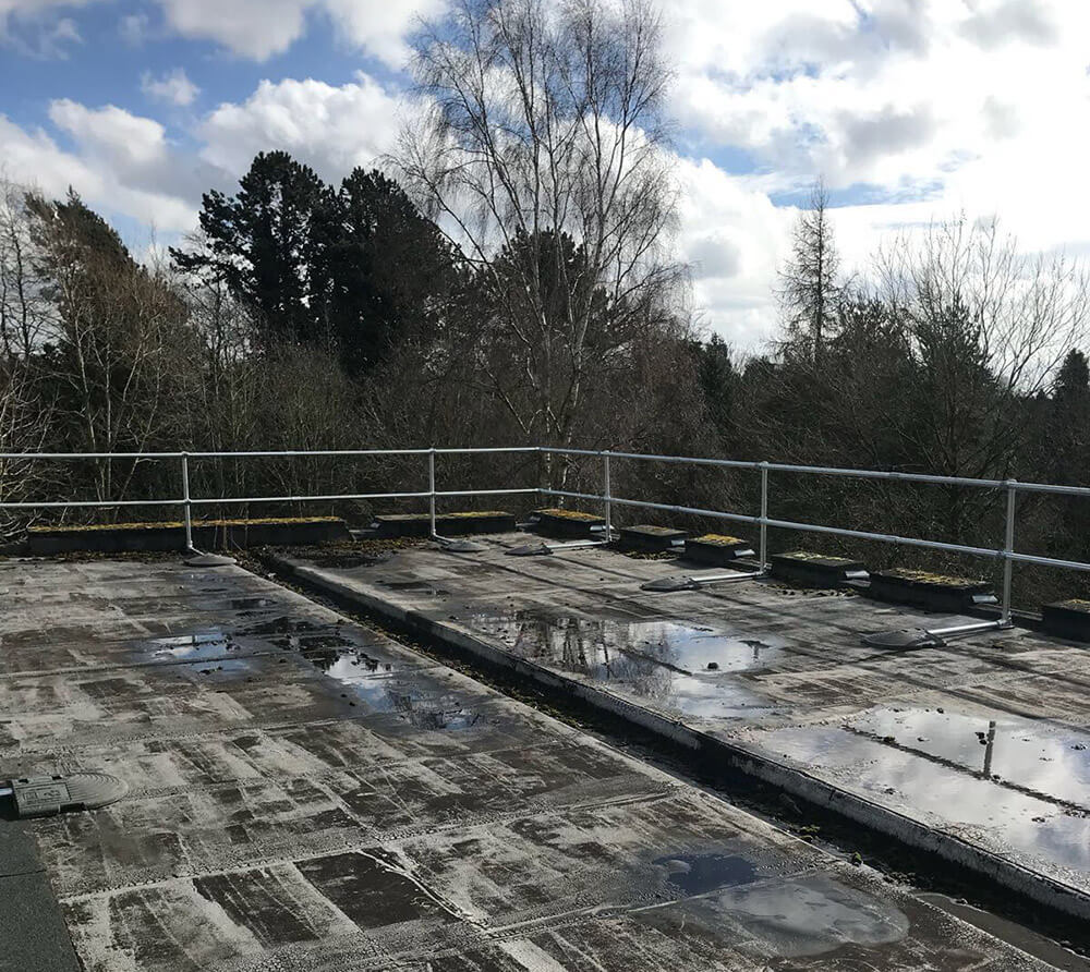 roof edge protection for Leicester University
