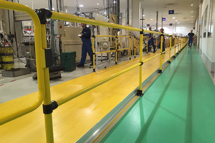 safety rail for factories and warehouses