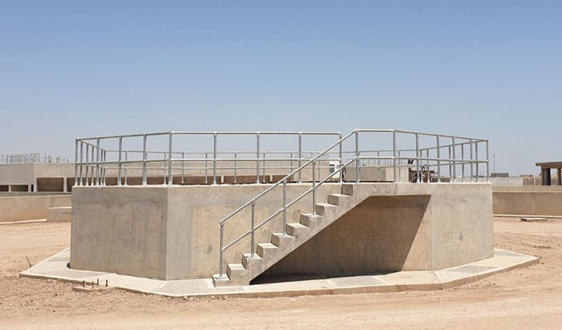 handrail installed around a sedimentation tank