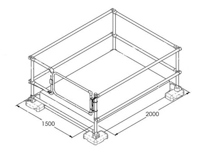rooflight guardrail with gate dimensions