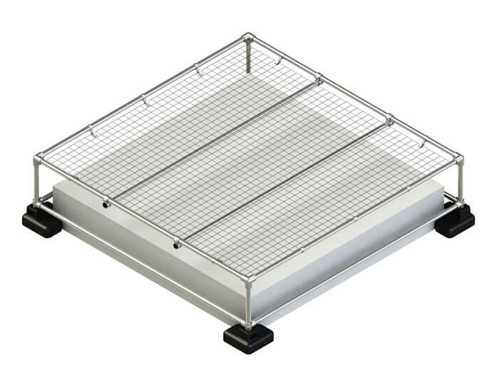 raised skylight railing with mesh