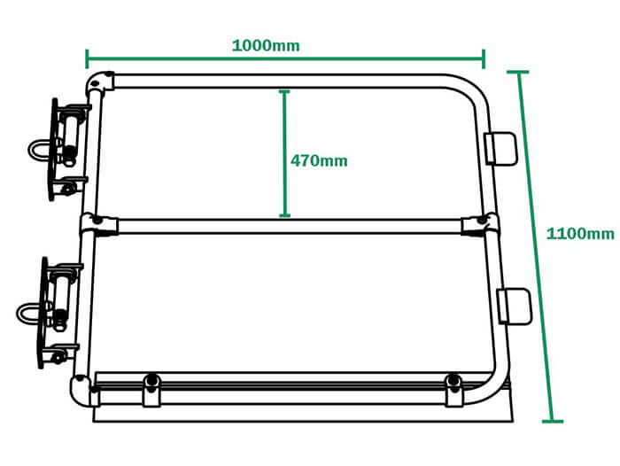 fixed ladder gate dimensions and components