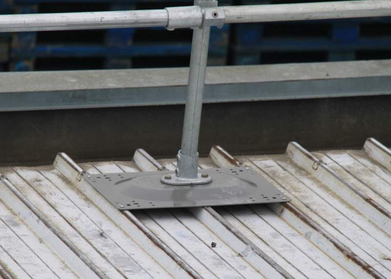 rooftop railing for corrugated metal roofs