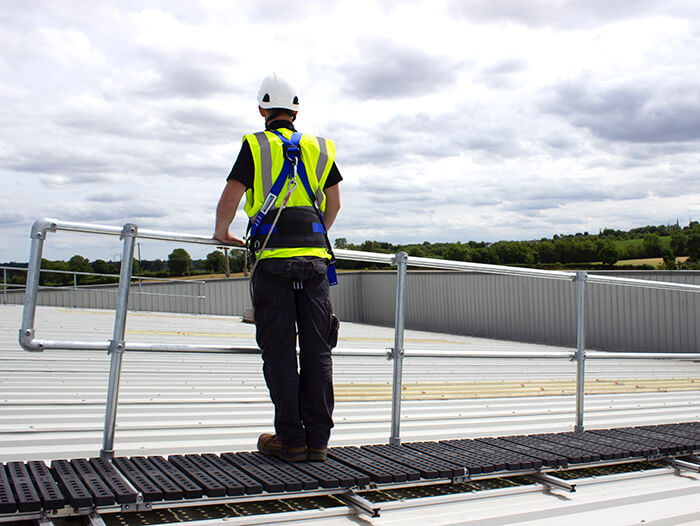 rooftop walkway with guardrail