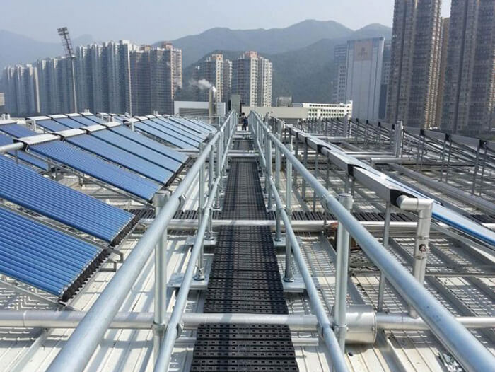 walkway for roof with guardrails