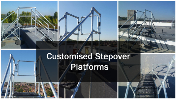 Custom stepover roof platform