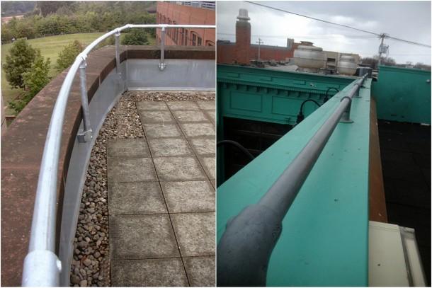 Roof parapet hadnrail