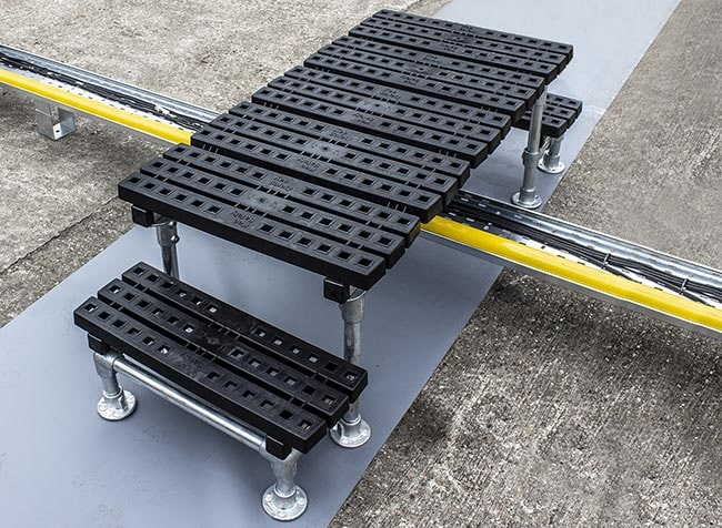 example of a one step platform installed over pipe and cable trays